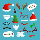 Christmas Photo Booth. Santa Hats, Mustache, Beard And Reindeer Antlers Xmas Props Vector Collection poster
