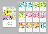 Calendar 2019. Seasons Collage, Abstract Painting Modern Creative Printable Planner. Vector Organize poster