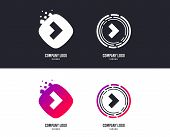Logotype Concept. Arrow Sign Icon. Next Button. Navigation Symbol. Logo Design. Colorful Buttons Wit poster