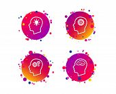 Head With Brain And Idea Lamp Bulb Icons. Male Human Think Symbols. Cogwheel Gears Signs. Gradient C poster