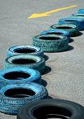 Tires  arrangement in go cart track