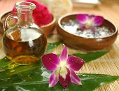 stock photo of spa massage  - Tropical spa with massage oil - JPG