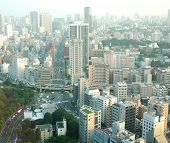 Concrete jungle of Tokyo  in a hazy day