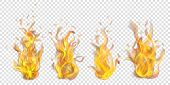 Set Of Translucent Burning Campfires On Transparent Background. For Used On Light Backdrops. Transpa poster