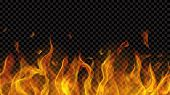 Translucent Fire Flame With Horizontal Seamless Repeat On Transparent Background. For Used On Dark B poster