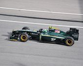 SEPANG, MALAYSIA - APRIL 4 : Heikki Kovalainen of Team Lotus  at top speed during Malaysian Formula