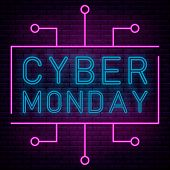 Neon Script Lettering Cyber Monday, Luminous Signboard, Nightly Advertising Advertisement Of Sales R poster