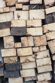 Firewood In Woodpile, Prepared For Winter. Pile Of Firewood. The Firewood Background. A Stack Of Nea poster