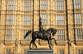 Statue of Richard The Lionheart outside the Houses of Parliament in London