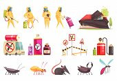 Disinfection Pest Control Set Of Flat Isolated Images With Insects Decontamination Equipment Items A poster