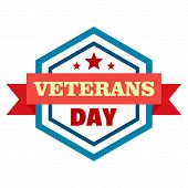 Star Veterans Day Logo. Flat Illustration Of Star Veterans Day Vector Logo For Web Design poster