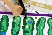 A golfer's score card and golf tees from the course