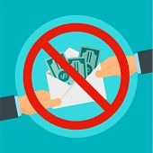 Say No To Bribery Concept Background. Flat Illustration Of Say No To Bribery Vector Concept Backgrou poster