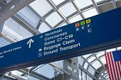 Airport directional signs leading passengers to buildings, gates, and airlines