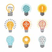 Ideas Bulb Symbols. Creative Tech Innovation Electrical Icon For Business Logotype Vector Colorful V poster