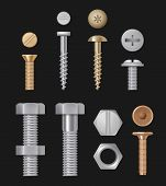 Metallic Bolts And Screws. Construction Hardware Silver Repair Tools. Vector Realistic Templates Iso poster