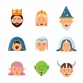 Fairytale Avatars Collection. Fantasy Game Characters Warrior Queen Barbarian Goblin Princess Vector poster