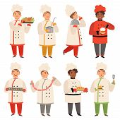 Cook Characters. Chef At Kitchen Cooking Various Tasty Food Funny Cartoon Mascot In Various Poses. C poster