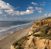 Sweeping view of the rugged California coastline and ocean beaches