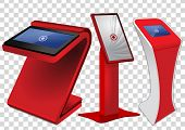 Three Red Promotional Interactive Information Kiosk, Advertising Display, Terminal Stand, Touch Scre poster