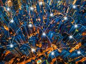 Aerial View Of Hong Kong Downtown. Financial District And Business Centers In Smart City, Technology poster