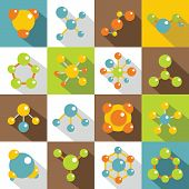 Molecule Icons Set. Flat Illustration Of 16 Molecule Icons For Web poster