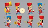 A Marching Cute Brass Band With Various Kind Of Instruments. Isolated. poster