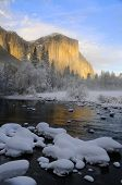 Alpenglow on the granite peaks and the Merced river in Yosemite valley, Yosemite National Park, Cali