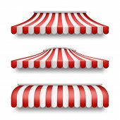 Vector Realistic Set Of Striped Awnings Isolated On Background. Clipart With Red And White Tents, Te poster