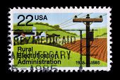 UNITED STATES - CIRCA 1985: depicting ploughed field and power lines, in-scripted