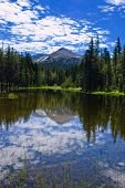 One of the small lakes or ponds in Yosemite National Park around Tuolumne Meadows area