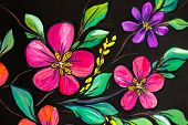 Flowers Illustration On A Black Background. Oil Painting, Impressionism Style, Flower Painting, Canv poster