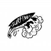 Surfing Logo, Hand Drawn Design Element Can Be Used For Surf Club, Shop, Clothes Print, Emblem, Badg poster