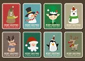 Merry Christmas And Happy New Year Vector Greeting Card With Cartoon Character Set, Merry Christmas  poster