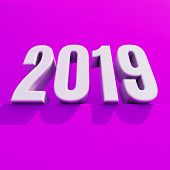 Red 2019 On White Background, New Year 2019, 3d Illustration, Happy New Year 2019, Red 3d Numbers, N poster