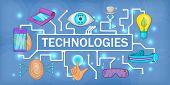 Future Tech Banner Horizontal Concept. Cartoon Illustration Of Future Tech Banner Horizontal For Web poster