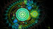 Abstract Fractal Shapes. Fantasy Colorful Chaotic Fractal Texture. 3d Rendering Psychedelic Illustra poster