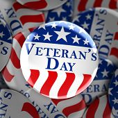 Veterans day button background poster