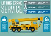Lifting Crane And Cargo Service Concept. Building Technology And Transport. Transportation Company B poster