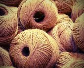 Balls Of Very Rough And Rough Twine For Sale In The Haberdashery Shop With Vintage Old Effect poster