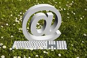 Internet 'at' sign and modern keyboard on green grass in garden