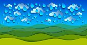 Scenic Nature Landscape Of Green Grass Meadow Under Rain Drops Cloudy Rainy Sky Cartoon Paper Cut Mo poster