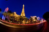 LAS VEGAS, NV - MAY 20:  Night street scene with colorful lights featuring Paris and Bally's hotels