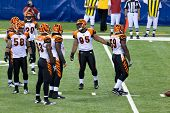 INDIANAPOLIS, IN - SEPT 2: Cincinnati Bengals are preparing for line-up during football game between Indianapolis Colts and Cincinnati Bengals on September 2, 2010 in Indianapolis, IN
