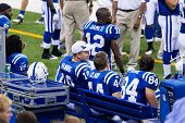 INDIANAPOLIS, IN - SEPT 2: Peyton Manning, Indianapolis Colts quarterback, watches the game between Indianapolis Colts and Cincinnati Bengals on September 2, 2010 in Indianapolis, IN