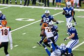 INDIANAPOLIS, IN - SEPT 2: Intercept during football game between Indianapolis Colts and Cincinnati