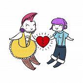 Cute Freaks In Love. Gender-queer, Cross-dressing, Punk, Goth, Skin. Vector Illustration For Prints, poster