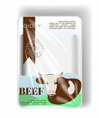 Plastic Container Tray With Cellophane Cover. For Beef. Vector poster