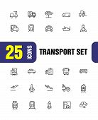Transport Icons. Set Of Line Icons. Train, Airplane, Taxi. Vehicle Icon Set. Vector Illustration Can poster
