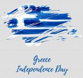 Greece Independence Day Holiday Background. Abstract Grunge Brushed Flag Of Greece. Template For Nat poster